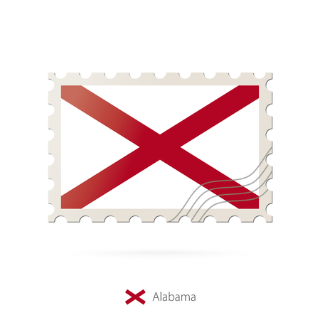 alabama flag: Postage stamp with the image of Alabama state flag. Alabama Flag Postage on white background with shadow. Vector Illustration.