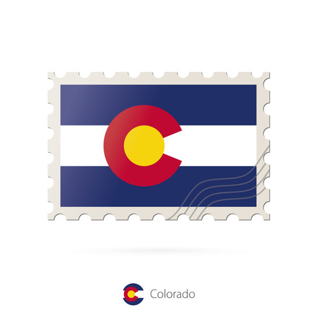 colorado flag: Postage stamp with the image of Colorado state flag. Colorado Flag Postage on white background with shadow. Vector Illustration.