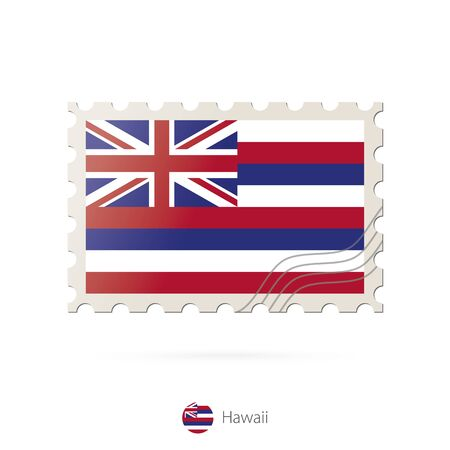 hawaii flag: Postage stamp with the image of Hawaii state flag. Hawaii Flag Postage on white background with shadow. Vector Illustration. Illustration
