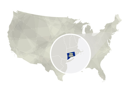 Polygonal abstract USA map with magnified Connecticut state. Connecticut state map and flag. US and Connecticut vector map. Vector Illustration. Vectores