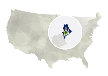maine: Polygonal abstract USA map with magnified Maine state. Maine state map and flag. US and Maine vector map. Vector Illustration. Illustration