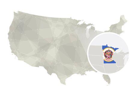 Polygonal Abstract USA Map With Magnified Minnesota State - Us map minnesota