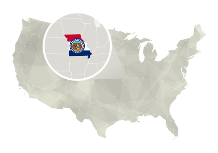 major ocean: Polygonal abstract USA map with magnified Missouri state. Missouri state map and flag. US and Missouri vector map. Vector Illustration.