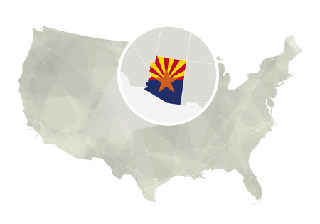 Polygonal abstract USA map with magnified Arizona state. Arizona state map and flag. US and Arizona vector map. Vector Illustration. Vectores