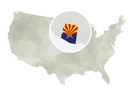 state of arizona: Polygonal abstract USA map with magnified Arizona state. Arizona state map and flag. US and Arizona vector map. Vector Illustration. Illustration