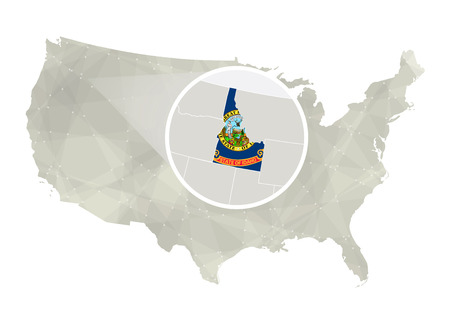Polygonal abstract USA map with magnified Idaho state. Idaho state map and flag. US and Idaho vector map. Vector Illustration.