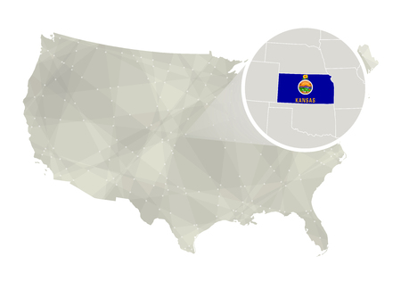 major ocean: Polygonal abstract USA map with magnified Kansas state. Kansas state map and flag. US and Kansas vector map. Vector Illustration. Illustration