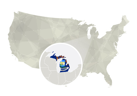 major ocean: Polygonal abstract USA map with magnified Michigan state. Michigan state map and flag. US and Michigan vector map. Vector Illustration.