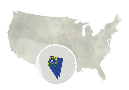 Polygonal abstract USA map with magnified Nevada state. Nevada state map and flag. US and Nevada vector map. Vector Illustration.