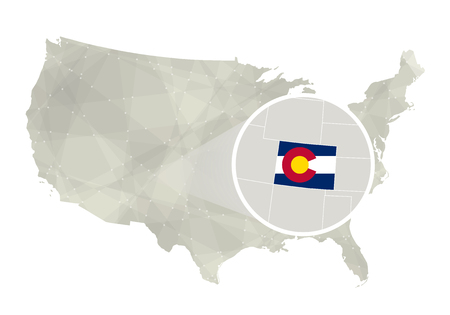 state of colorado: Polygonal abstract USA map with magnified Colorado state. Colorado state map and flag. US and Colorado vector map. Vector Illustration.
