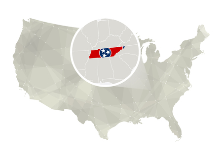 tennessee: Polygonal abstract USA map with magnified Tennessee state. Tennessee state map and flag. US and Tennessee vector map. Vector Illustration.
