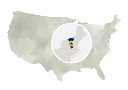 country side: Polygonal abstract USA map with magnified Vermont state. Vermont state map and flag. US and Vermont vector map. Vector Illustration. Illustration
