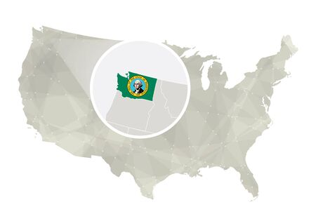 major ocean: Polygonal abstract USA map with magnified Washington state. Washington state map and flag. US and Washington vector map. Vector Illustration.
