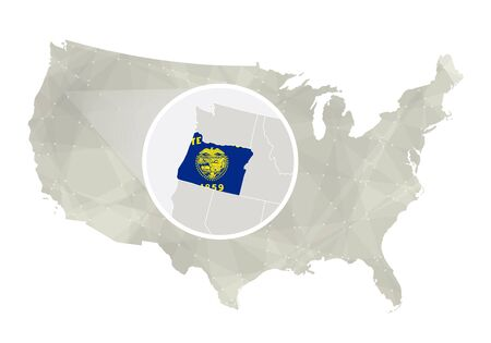 state of oregon: Polygonal abstract USA map with magnified Oregon state. Oregon state map and flag. US and Oregon vector map. Vector Illustration. Illustration