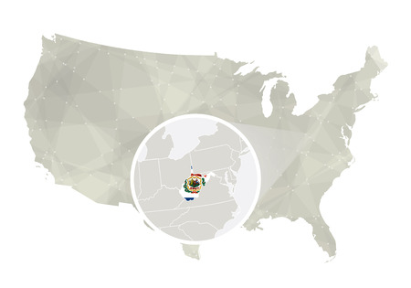 Polygonal Abstract USA Map With Magnified West Virginia State ...