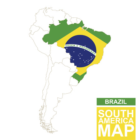 South America contoured map with highlighted Brazil. Brazil map and flag on South America map. Vector Illustration.