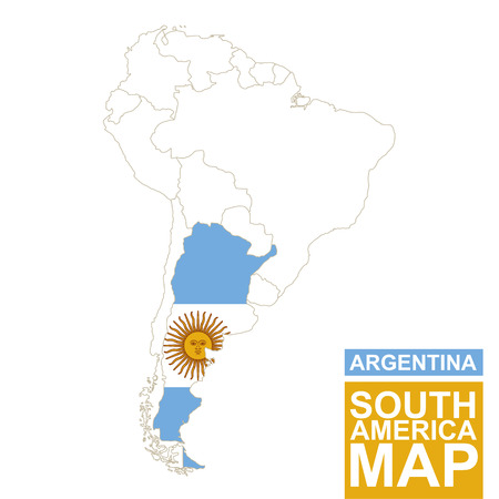 argentina map: South America contoured map with highlighted Argentina. Argentina map and flag on South America map. Vector Illustration.