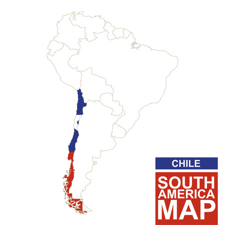 South America contoured map with highlighted Chile. Chile map and flag on South America map. Vector Illustration. Ilustração