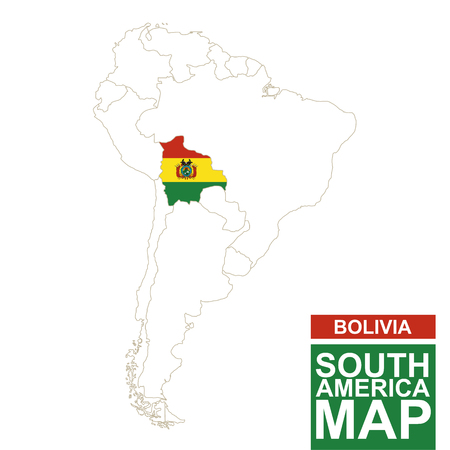 contoured: South America contoured map with highlighted Bolivia. Bolivia map and flag on South America map. Vector Illustration.