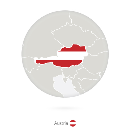 austria map: Map of Austria and national flag in a circle. Austria map contour with flag. Vector Illustration. Illustration