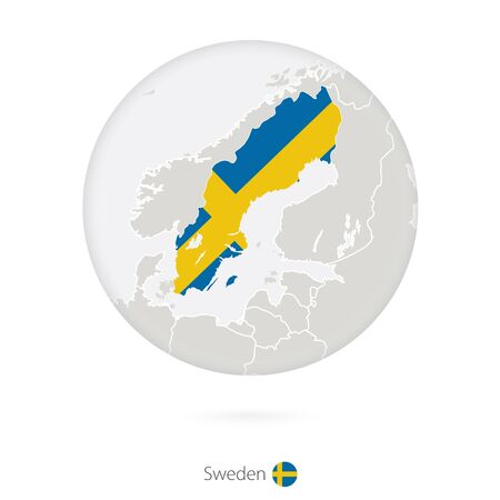 sweden map: Map of Sweden and national flag in a circle. Sweden map contour with flag. Vector Illustration.