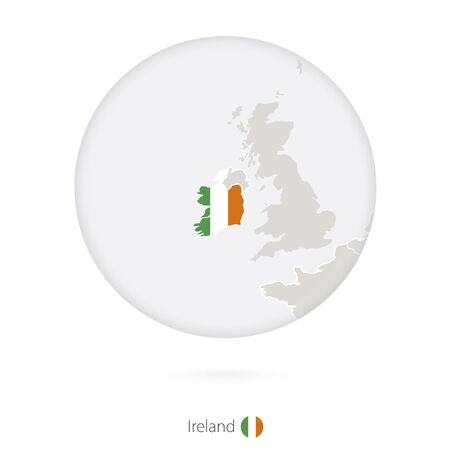 ireland map: Map of Ireland and national flag in a circle. Ireland map contour with flag. Vector Illustration. Illustration
