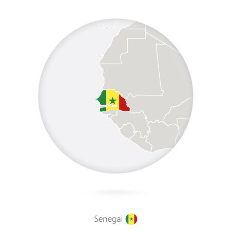 dakar: Map of Senegal and national flag in a circle. Senegal map contour with flag. Vector Illustration.