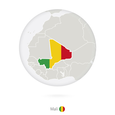 bamako: Map of Mali and national flag in a circle. Mali map contour with flag. Vector Illustration.
