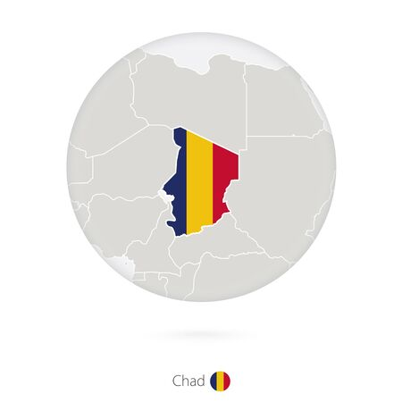 chad: Map of Chad and national flag in a circle. Chad map contour with flag. Vector Illustration. Illustration
