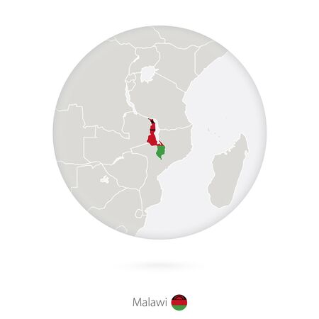 malawi: Map of Malawi and national flag in a circle. Malawi map contour with flag. Vector Illustration. Illustration