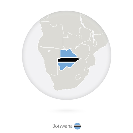 Map of Botswana and national flag in a circle. Botswana map contour with flag. Vector Illustration.