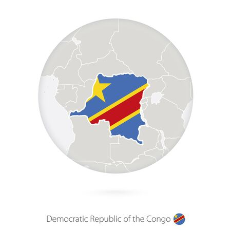 dr: Map of Democratic Republic of the Congo and national flag in a circle. DR Congo map contour with flag. Vector Illustration.