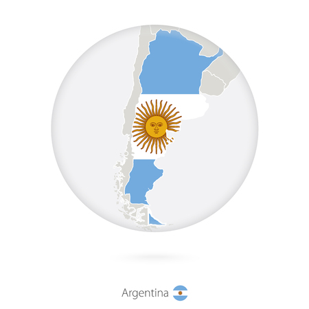 argentina map: Map of Argentina and national flag in a circle. Argentina map contour with flag. Vector Illustration.