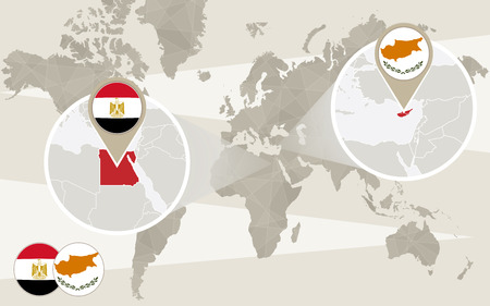 hijack: World map zoom on Egypt, Cyprus. Hijack. Egypt map with flag. Cyprus map with flag. Vector Illustration.
