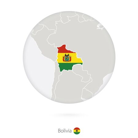 mapa de bolivia: Map of Bolivia and national flag in a circle. Bolivia map contour with flag. Vector Illustration.