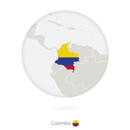Map of Colombia and national flag in a circle. Colombia map contour with flag. Vector Illustration.
