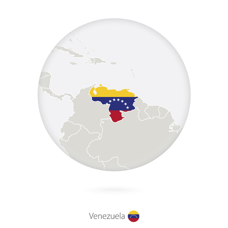 latin americans: Map of Venezuela and national flag in a circle. Venezuela map contour with flag. Vector Illustration. Illustration