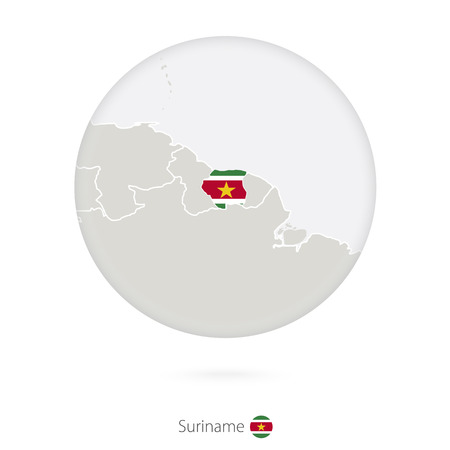 suriname: Map of Suriname and national flag in a circle. Suriname map contour with flag. Vector Illustration.
