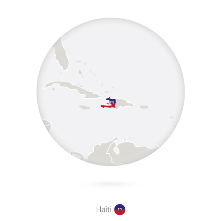 creole: Map of Haiti and national flag in a circle. Haiti map contour with flag. Vector Illustration.