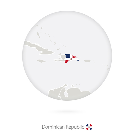 dominican republic: Map of Dominican Republic and national flag in a circle. Dominican Republic map contour with flag. Vector Illustration.