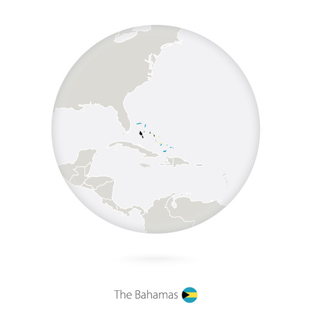 bahamas map: Map of The Bahamas and national flag in a circle. The Bahamas map contour with flag. Vector Illustration.