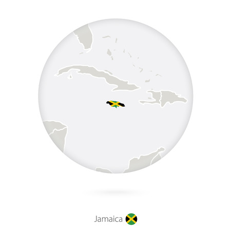 kingston: Map of Jamaica and national flag in a circle. Jamaica map contour with flag. Vector Illustration.