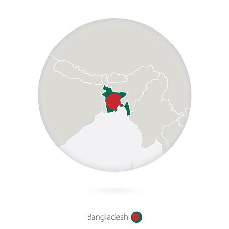 national flag bangladesh: Map of Bangladesh and national flag in a circle. Bangladesh map contour with flag. Vector Illustration.