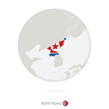 north korea: Map of North Korea and national flag in a circle. North Korea map contour with flag. Illustration