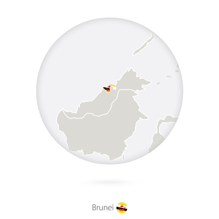 map of brunei: Map of Brunei and national flag in a circle. Brunei map contour with flag. Illustration