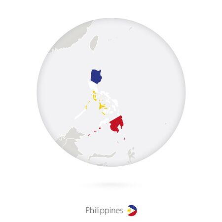 filipino: Map of Philippines and national flag in a circle. Philippines map contour with flag.