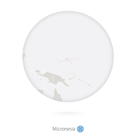 micronesia: Map of Micronesia and national flag in a circle. Micronesia map contour with flag. Illustration.