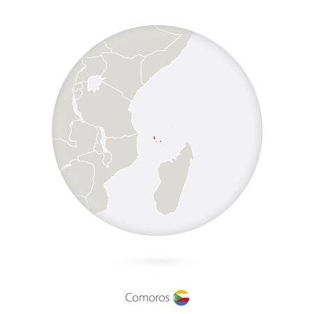 comoros: Map of Comoros and national flag in a circle. Comoros map contour with flag. Illustration. Illustration
