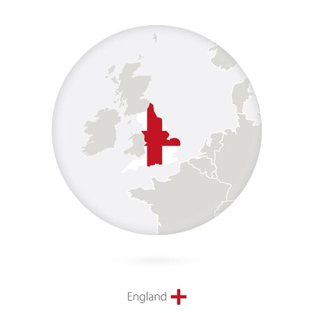 england map: Map of England and national flag in a circle. England map contour with flag. Illustration.