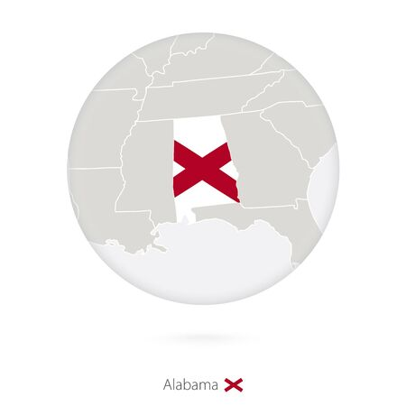 alabama flag: Map of Alabama State and flag in a circle. Alabama US State map contour with flag. Vector Illustration.